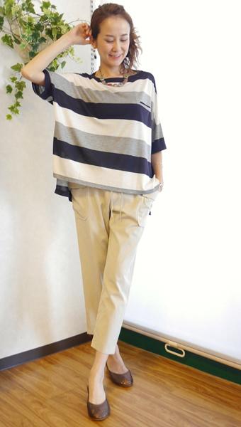 Cloche(クロッシェ)配色ボーダーオーバーサイズTシャツ五分袖