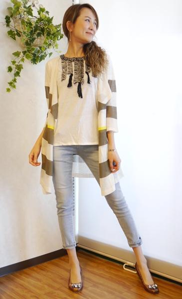 Anna Kerry(アンナケリー)前フリンジ半袖Tシャツ