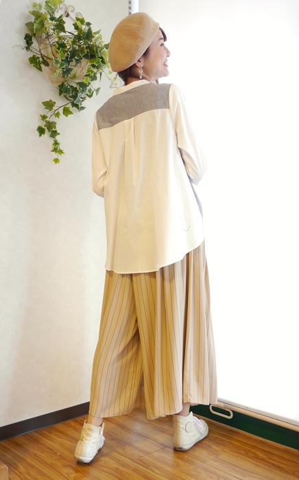 異素材使いシャツ ガウチョパンツ コーディネート 30代 40代 通販