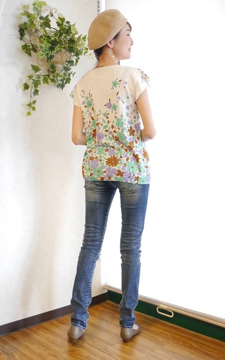 大人可愛い 花柄 フレンチ袖サマーニット 通販