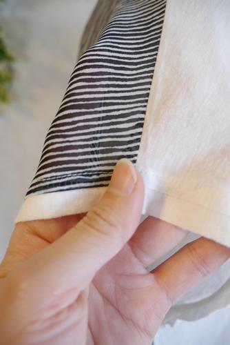 フランスインポート 異素材使いスパン刺繍ロゴTシャツ