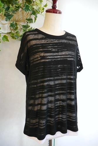 大人Tシャツ 重ね着 黒x白