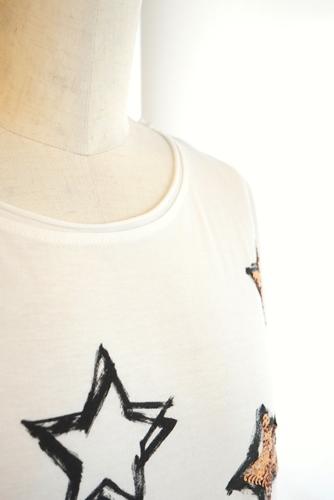 nudia 大人 星スパンコール Tシャツ