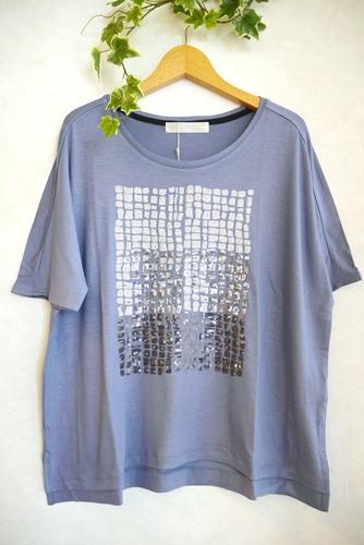 Relaxing.R(リラクシングアール) 大人気スパンコール刺繍 五分袖 とろみTシャツ