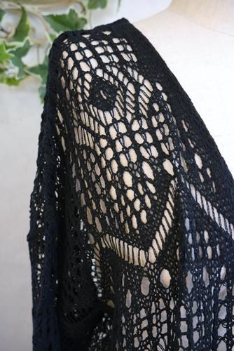 レース編み ロングカーディガン 黒