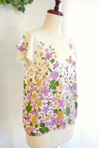 大人可愛い 花柄 フレンチ袖 サマーニット 通販