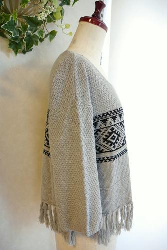 IOCUS(ヨクス)裾フリンジ七分袖コットンニット