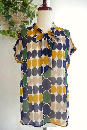 40代 50代ファッション通販 幾何学ドットシフォンブラウス