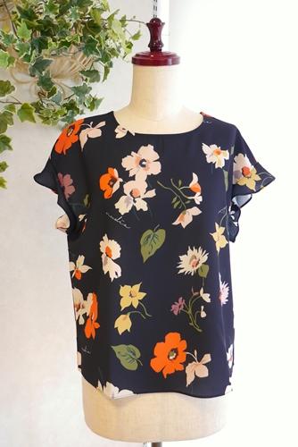 花柄プリント フレンチ袖 ブラウス 通販