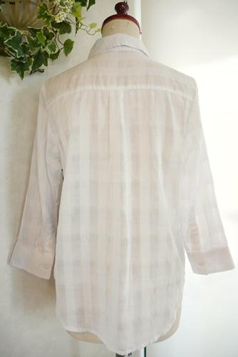 透かしチェック 七分袖シャツ